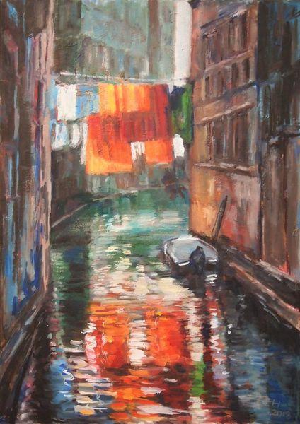 Impressionismus, Malerei, Venedig, Spiegelung, Stadtlandschaft, Landschaft