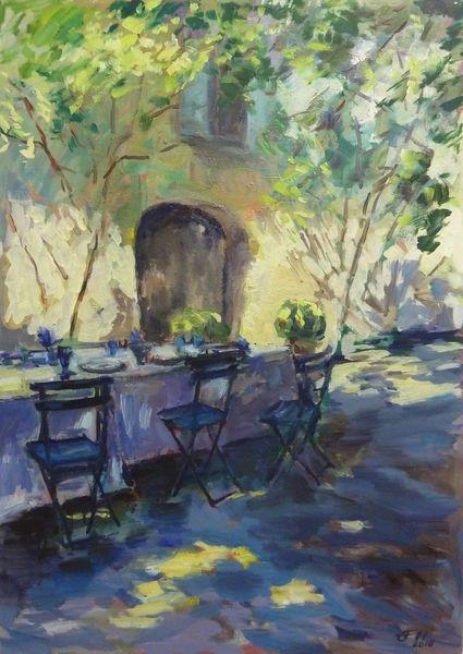 Landschaft, Pflanzen, Gegenständlich, Haus, Malerei, Provence