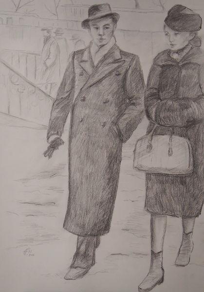 Vergangenheit, Familie, Nostalgie, Zeichnung, Menschen, Zeichnungen