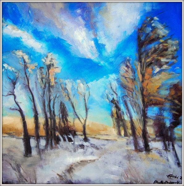 Schnee, Himmel, Natur, Gemälde, Stimmung, Landschaft
