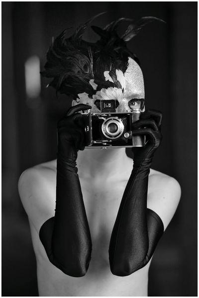 Handschuhe, Maske, Frau, Kamera, Fotografie, Warchild