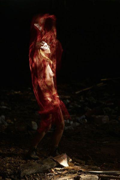 Frau, Bewegung, Flammen, Surreal, Akt, Dynamik