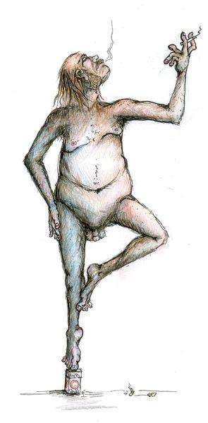 Rauchen, Mann, Raucherbein, Akt, Zeichnungen