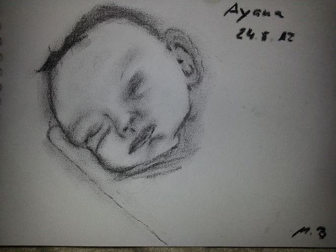 Tochter, Kohlezeichnung, Malerei