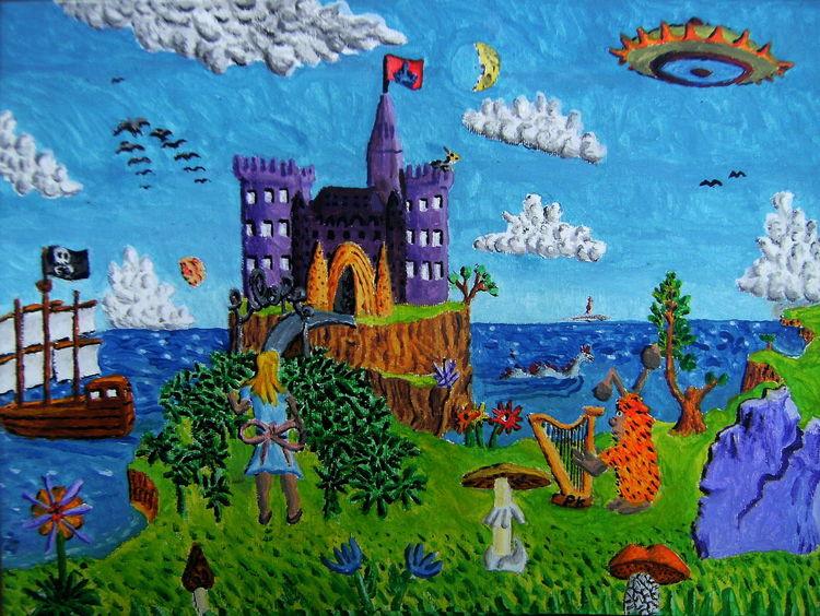 Schloss, Ufos, Piratenschiff, Frau, Harfe, Acrylmalerei