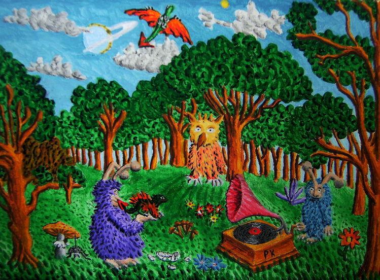 Wald, Grammophon, Schallplatte, Drache, Malerei, Phantasiebilder