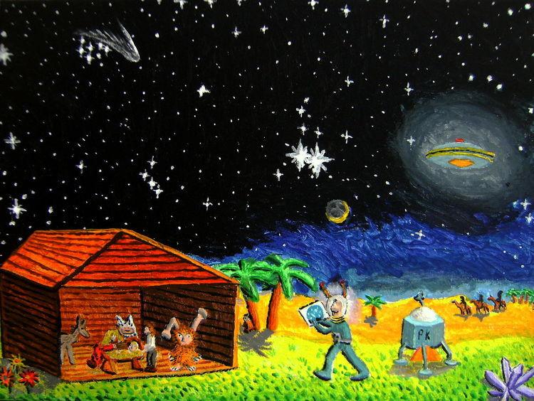 Hütte, Krippe, Ufo, Astronaut, Weihnachten, Malerei
