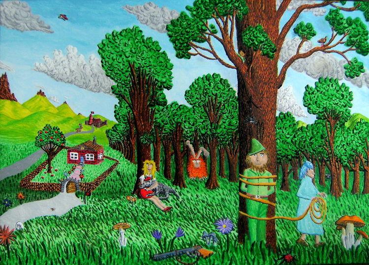Wald, Jäger, Fantasie, Baum, Flinte, Wolf