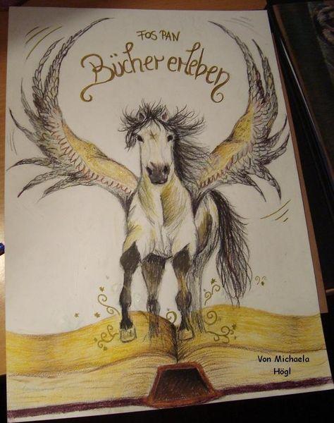 Pferde, Flügel, Buch, Pegasus, Malerei