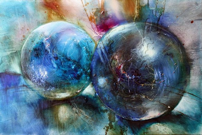 Blau, Murmel, Kugel, Malerei, Stillleben