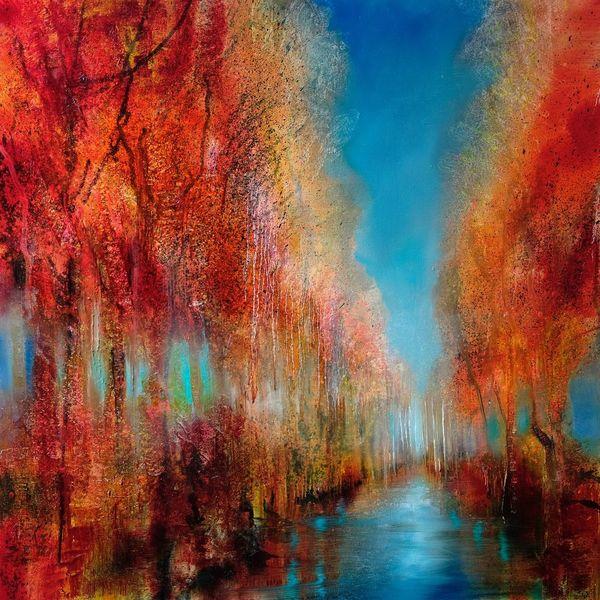 Herbst, Sonne, Herbstlaub, Baum, Weg, Wasser