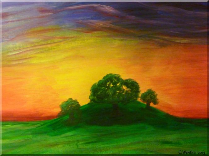 Acryl natur sonnenuntergang, Sommer, Landschaft, Wiese, Malerei, Abendrot