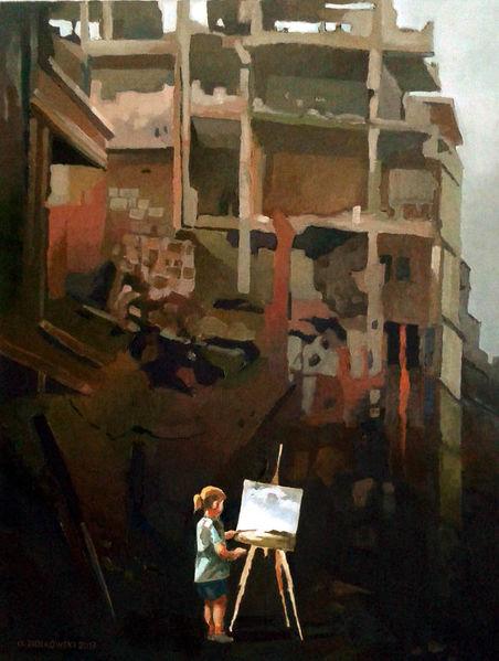 Malerei, Landschaft, Ruine, Staffelei, Mädchen, Krieg
