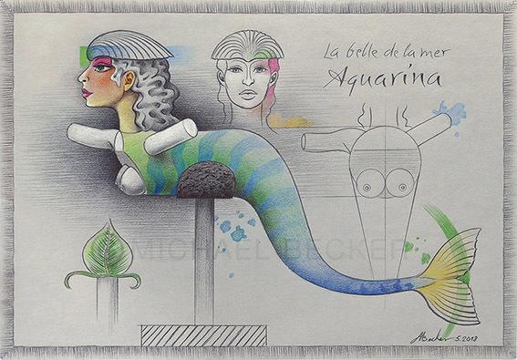 Meerjungfrau, Zeichnung, Nixe, Mischtechnik, Muschel, Aquarina