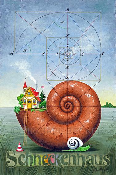 Landschaft, Schnecke, Fantasie, Spirale, Haus, Malerei