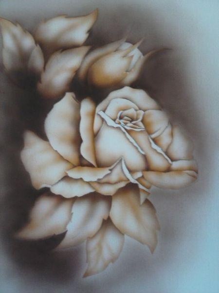 Blumen, Rose, Zeichnung, Kohlezeichnung, Malerei, Pflanzen