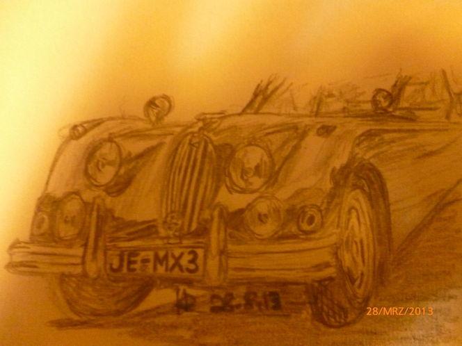 Auto, Alt, Bleistiftzeichnung, Zeichnungen