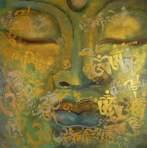 Grün, Religion, Goldmeditation, Asien, Yoga, Gold buddha