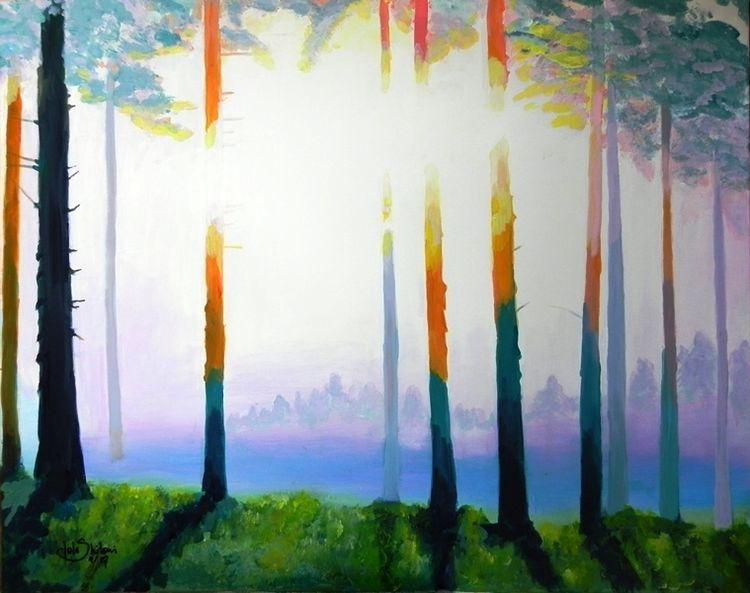 Meditation, Baum, Natur, Ruhe, Nebel, Gelb