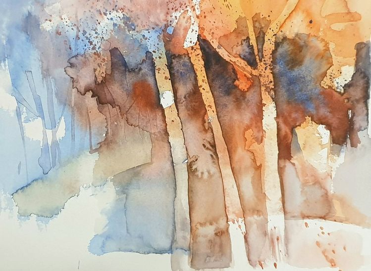Baum, Wald, Herbst, Aquarell