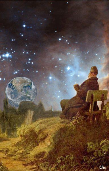 Alter mann, Carl spitzweg, Weltuntergang, Mischtechnik, Mann, Betrachtung