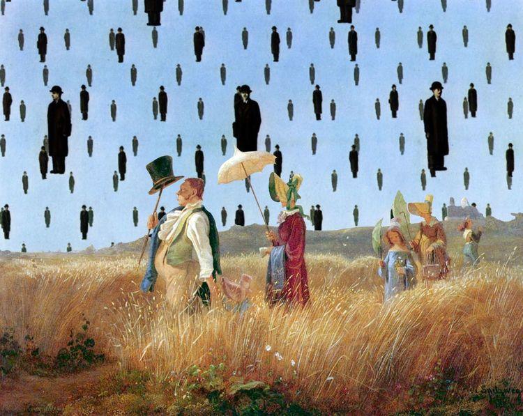 Magritte, Sonnenschirme, Regen, Spaziergang, Mann, Spitzweg