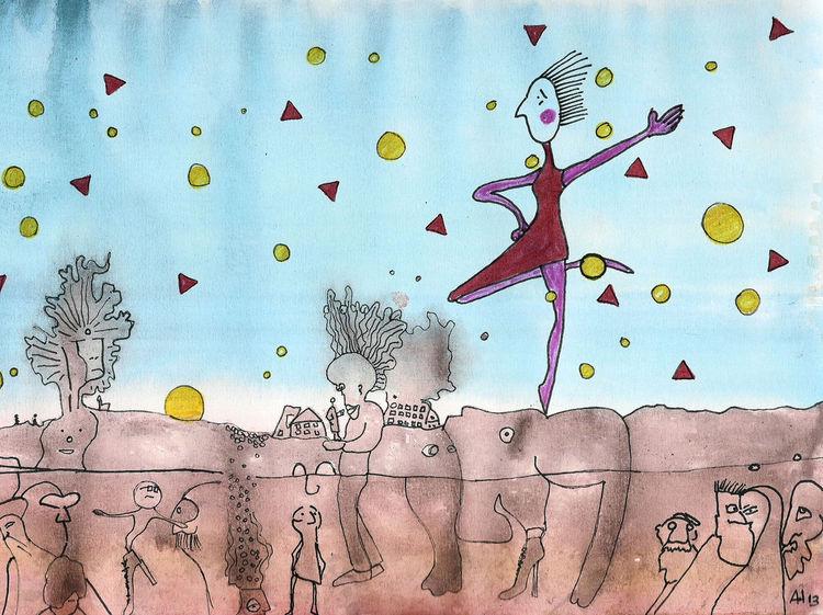 Logisch, Bewusstsein, Unbewußtsein, Tanz, Aquarell