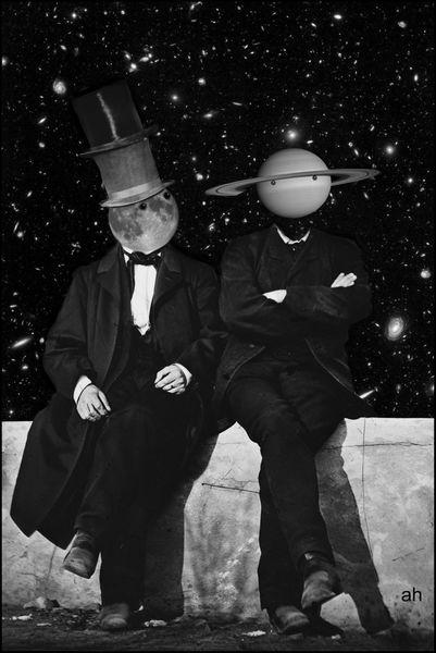 Mauer, Universum, Mond, Gaststätte, Saturn, Mischtechnik