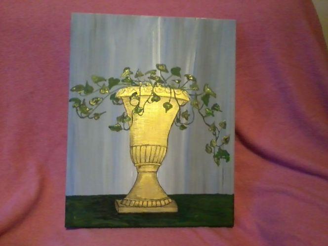 Pflanzen, Gold, Acrylmalerei, Efeu, Malerei