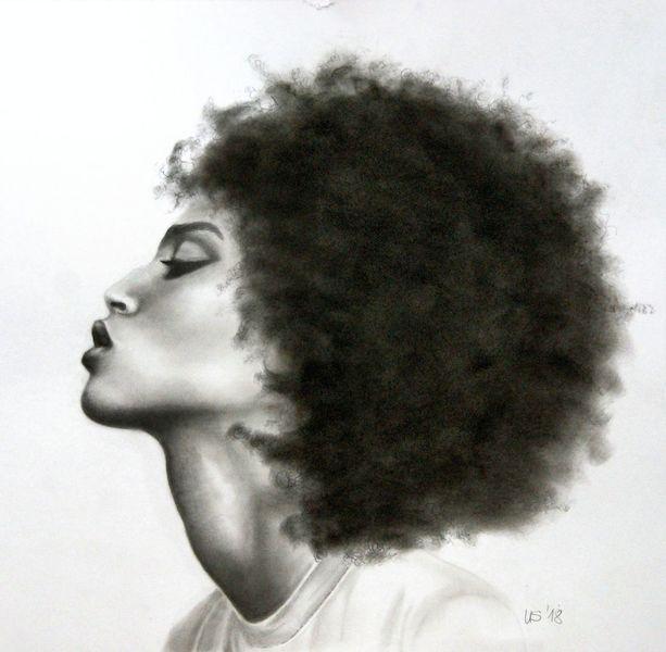 Profil, Frau, Entspannte, Malerei