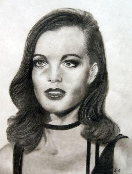 Romy schneider, Mund, Portrait, Haare, Bleistiftzeichnung, Augen