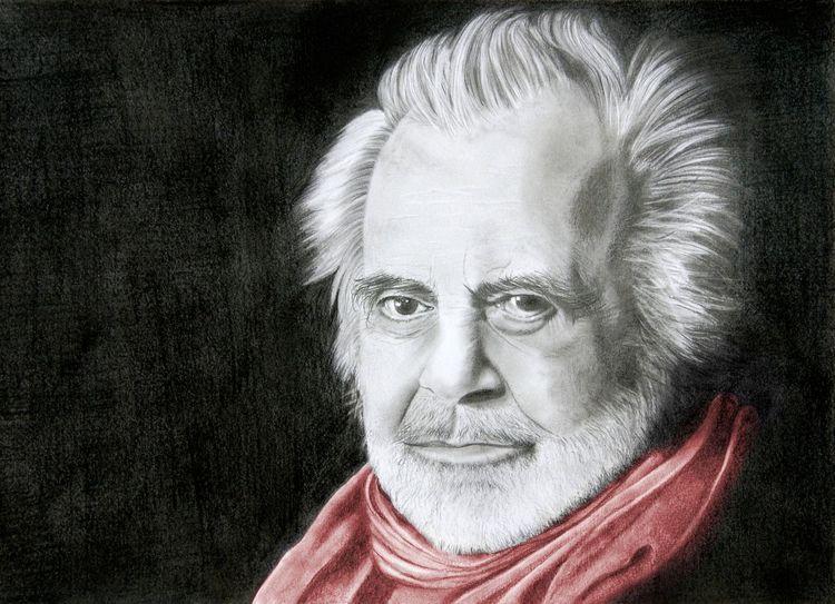 Bleistiftzeichnung, Schal, Rot schwarz, Portrait, Weiß, Maximilian schell