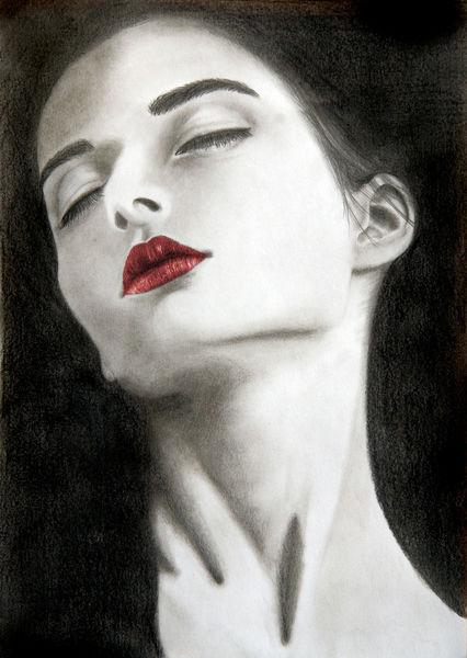 Gesicht, Mund, Weiß, Rot schwarz, Frau, Bleistiftzeichnung