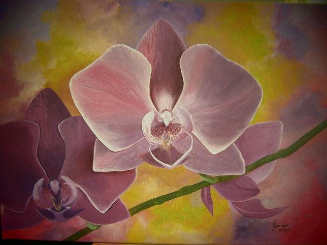 Pflanzen, Orchidee, Lila, Malerei