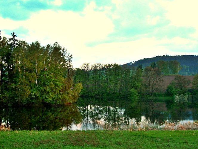 Wasser, Ufer, Ruhe, Sonnenuntergang, Frühling, Spiegelung