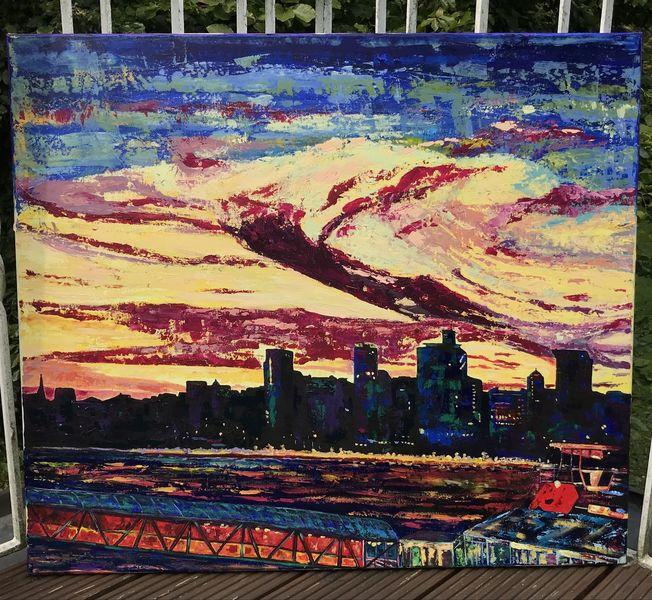Abstrakt, Farben, Acrylmalerei, Malerei, Landschaft, Modern
