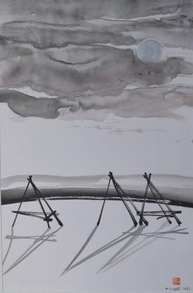 Schnee, Sumi, Zeichnung, Landschaft, Japantusche, Heinzen