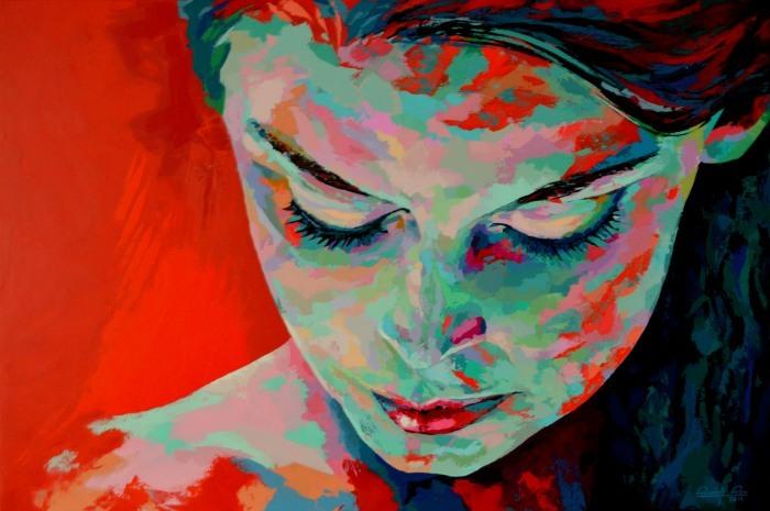 Zeitgenössische kunst, Acrylmalerei, Gemälde, Porträtmalerei, Malmesser, Malerei