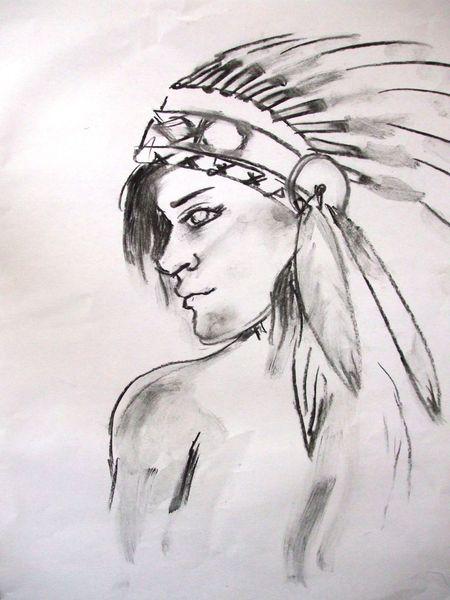 Frau, Mann, Gesicht, Indianer, Kohlezeichnung, Zeichnungen