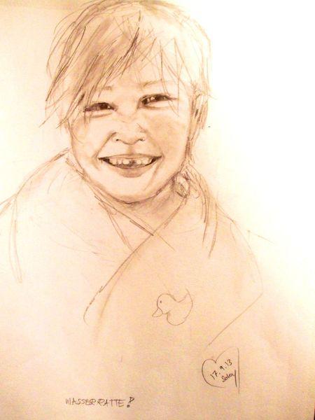 Kind, Lachen, Junge, Zeichnungen, Menschen