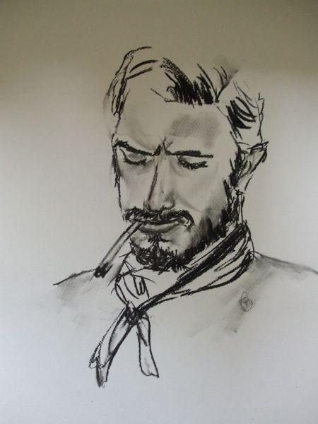 Gesicht, Mann, Rauchen, Cowboy, Kohlezeichnung, Malerei