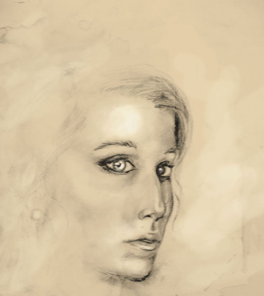 Augen, Kohlezeichnung, Portrait, Frau, Rötel, Malerei