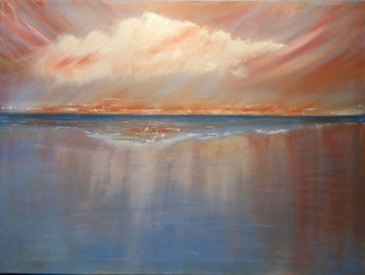 Strand, Abendhimmel, Meer, Malerei