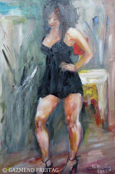 Ölmalerei, Menschen, Blau, Modell, Schwarz, Malerei