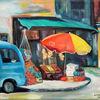 Gazmend freitag paintings, Realismus, Blau, Gazmend freitag