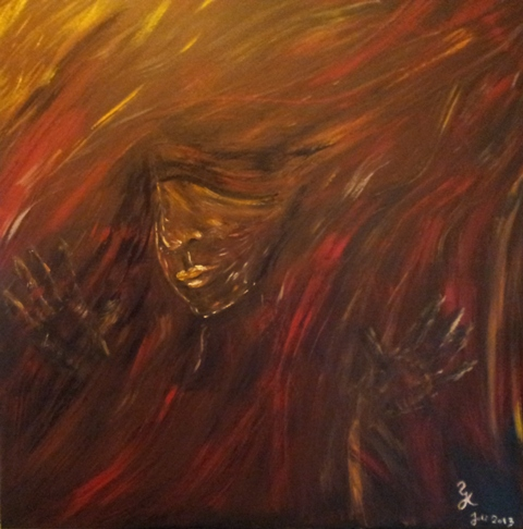 Frau, Abstrakt, Acrylmalerei, Ausbruch, Malerei,