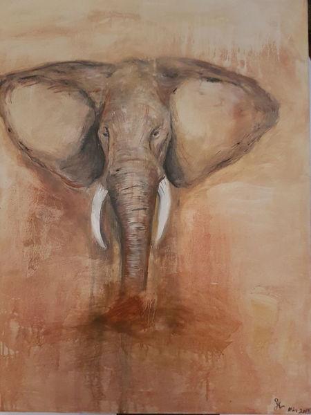 Tiere, Braun töne, Elefant, Ölmalerei, Malerei