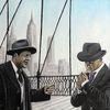 Unterhaltung, Skyline, Mann, Brücke