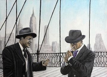 Mann, Brücke, Hut, Unterhaltung, Skyline, Malerei