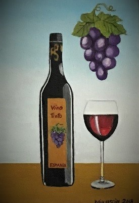 Wein, Vino, Trauben, Flasche, Malerei